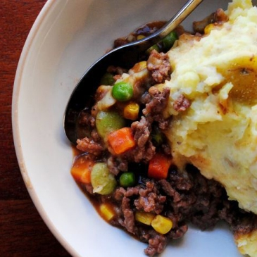 a serving of shepherd's pie on a plate